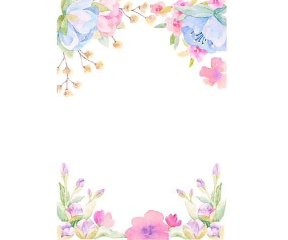 Watercolor flowers frame. Watercolour flower background clip