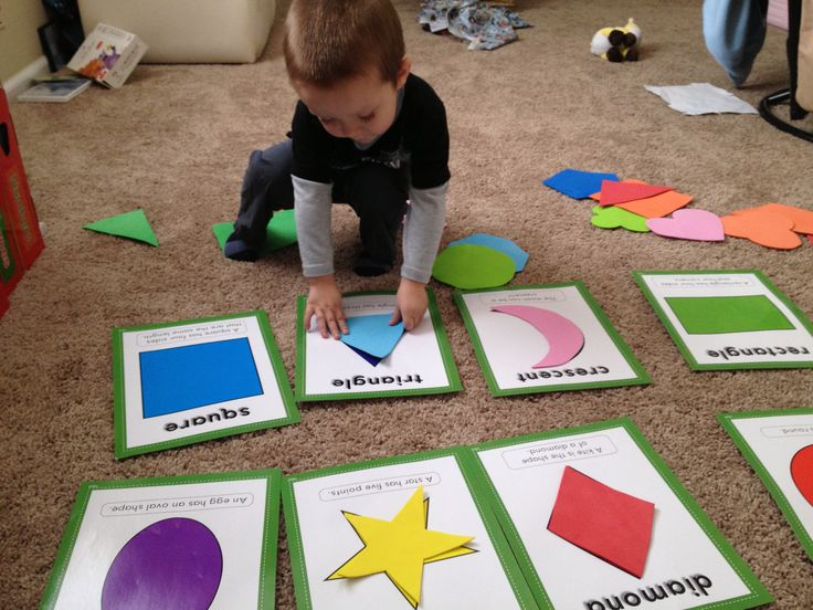 SHAPES: match foam shape to corresponding card (to make, trace out using white paper as a template then cut out foam)