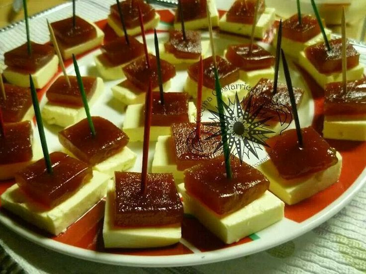 Typical Puerto Rico appetizer. Guava paste with white cheese. Pasta de guayaba con queso blanco.....mmm delicious