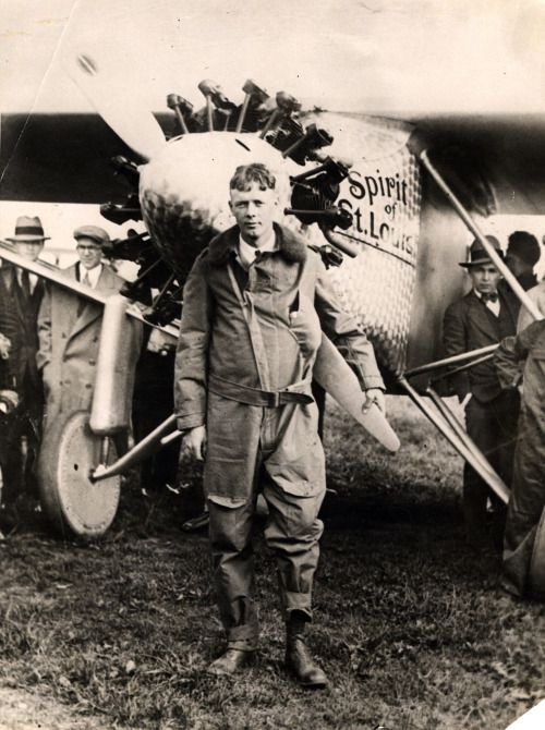 In 1927, Charles A. Lindbergh landed the Spirit of St. Louis near Paris, completing the first solo airplane crossing of the Atlantic Ocean in 33.5 hours. (photo: National Archives)