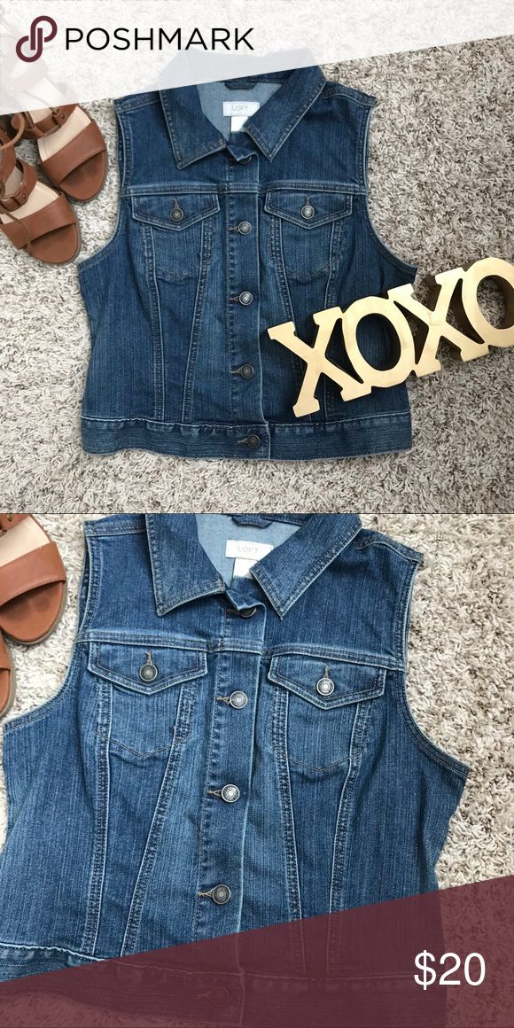 NWOT Sleeveless Jean Jacket Sleeveless jean Jacket. Two front pockets. Great pairing with a long sleeve Tshirt and some leggings and boots. LOFT Jackets & Coats Jean Jackets
