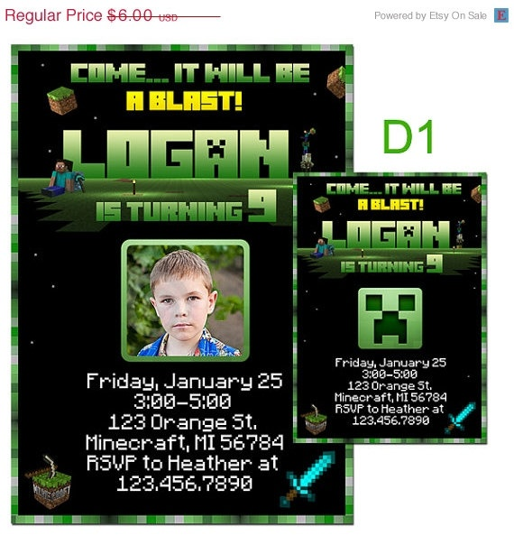 Minecraft birthday invitations