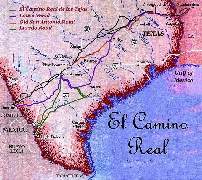 Map Of El Camino Real Also Known As Camino Real De Los Tejas