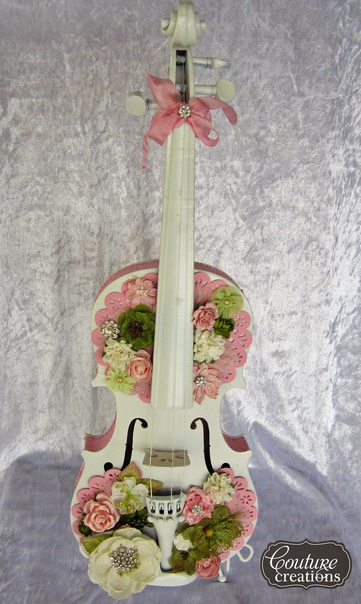 kerrie gurney [it's all about ME]: Altered Violin | #couturecreationsaus #embossingfolders #decorativedies #primaflowers #violin #alteredviolin #offthepage