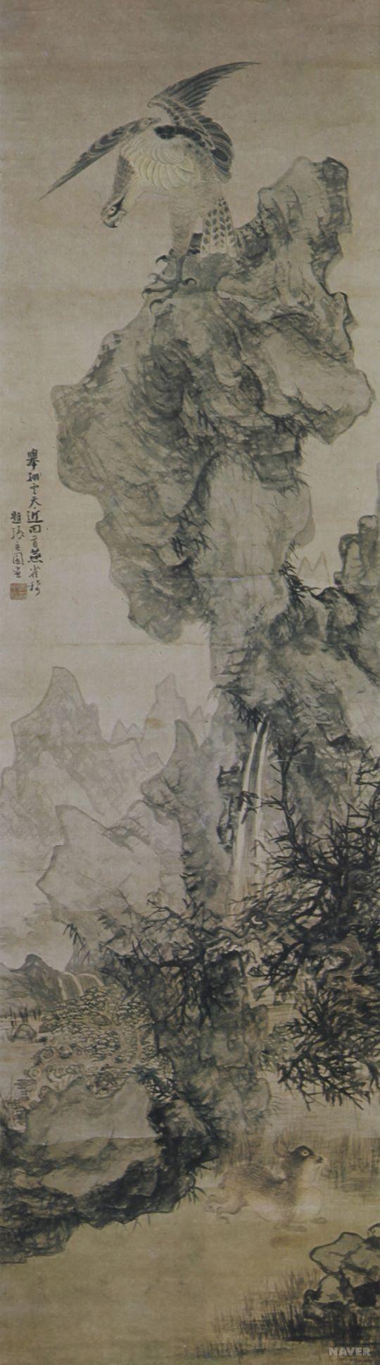 오원 장승업 (1843-1897), 웅시팔황도, 19세기, 수묵채색화.