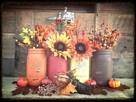 Heavenly Harvest - FLORAL INCLUDED: 4-Rustic Hand Painted Mason Jar Flower Vases-Fall , Country, Woodland, & Garden Weddings. Luminary's