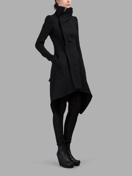 RICK OWENS BLACK OBLIQUE BIKER COAT