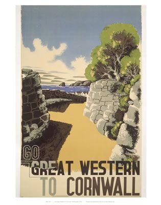 Go Great Western To Cornwall. Vintage Railway Art. Buy Here: http://www.vintagerailposters.co.uk/Photo/376-Great-western-to-Cornwall#.Uuk8z_l_tqU