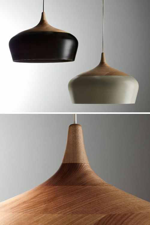 Love this pendant light the blend of timber and powdercoated metal