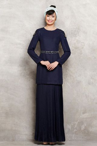 Modern Kurung with Shoulder Embellishments & Pleated Skirt