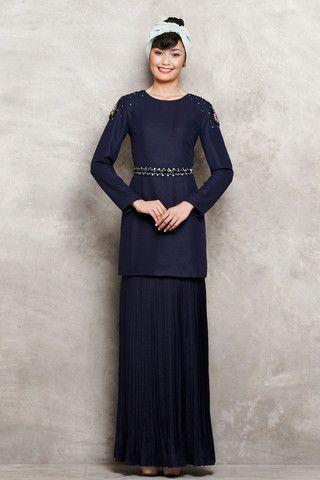 Modern Kurung with Shoulder Embellishments & Pleated Skirt