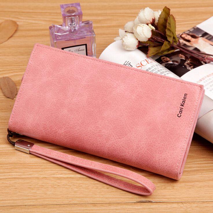 Sólido de cuero suave Mujeres largas cartera con correa de muñeca extraíble marca diseñador mujer monedero del embrague carteira feminina