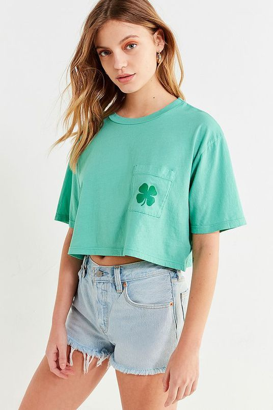 Truly Madly Deeply Shamrock Pocket Cropped Tee