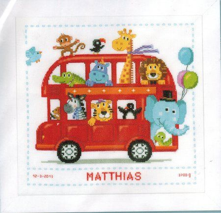 Vervaco Safari Bus - Cross Stitch Kit. Kit includes 14 count White Aida fabric, floss, needle, and instructions. Finished size is 11 x 11 (28cm x 28cm).