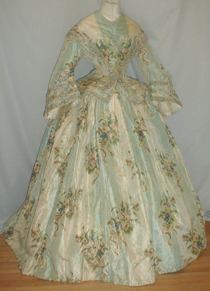Enchanting 1860's Warp Floral Print Silk Dress. This would be amazing for Halloween!