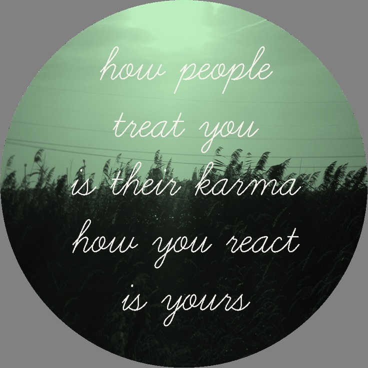 Probably the most accurate definition of karma I've come across. I've recently made the mistake of reacting poorly, but I feel a small sense of pride from finally standing up for myself instead of keeping things pent up. I can admit what I've done wrong and have apologized to those I've hurt, even if they can't necessarily do the same. That's their karma.
