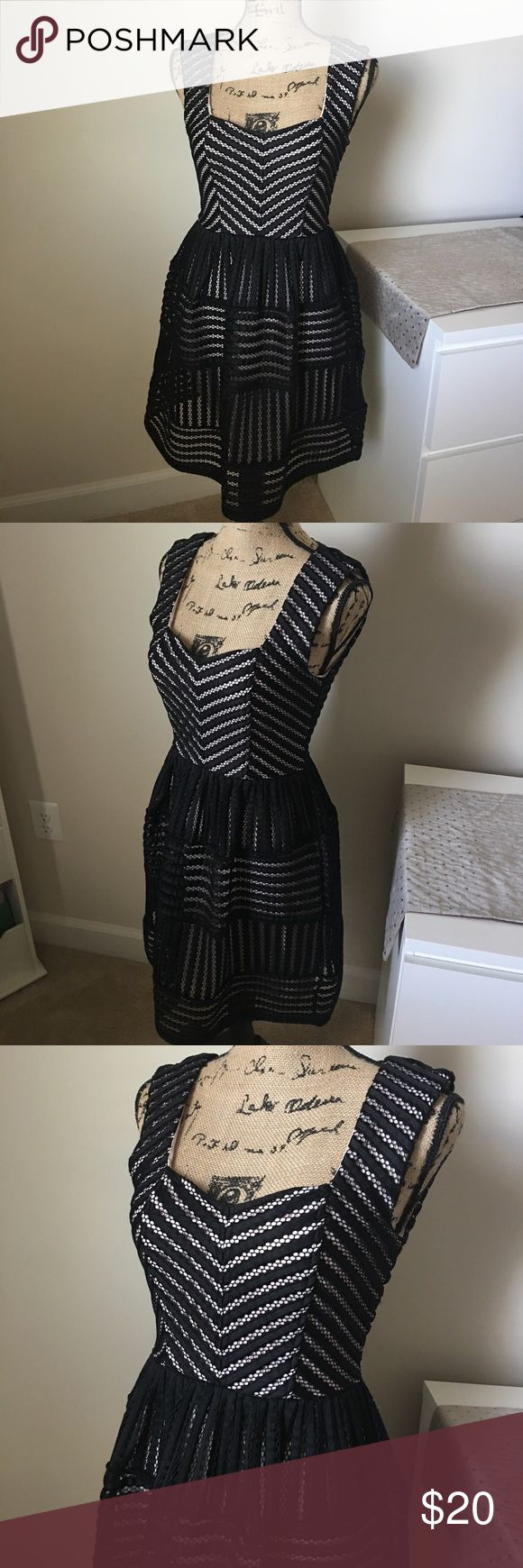 FANCY black/nude dress BEAUTIFUL SEXY going out dress! Great condition. NEVER WORN. No stains/holes! Layered underneath with a light nude color. Zips up in the back. Charlotte Russe Dresses