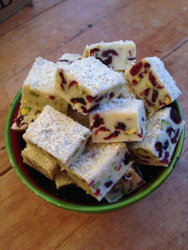 Christmas fudge, cranberry, pistachio an shredded coconut