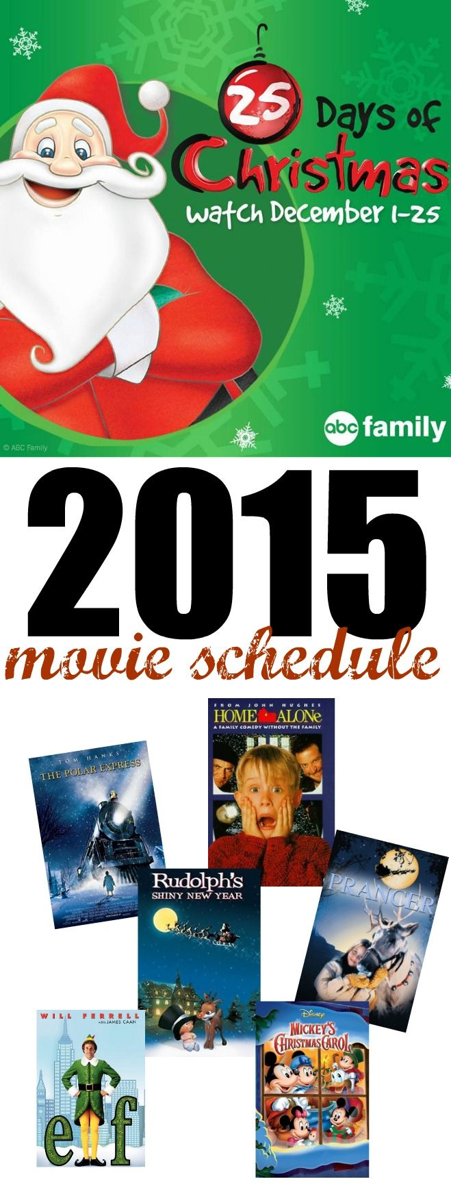 Make sure to print out the 2015 ABC 25 Days of Christmas Movie Schedule. Great family viewing and some of your favorite holiday movies!