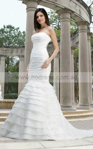 Sheath Strapless Natural Sleeveless Floor-length Wedding Dresses wbs0046