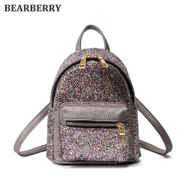 BEARBERRY 2017 Women Mini Backpack PU Leather Sequins Backpack Children Girls Shoulder Bag Female Small Tote Backpack  MN161 #Affiliate