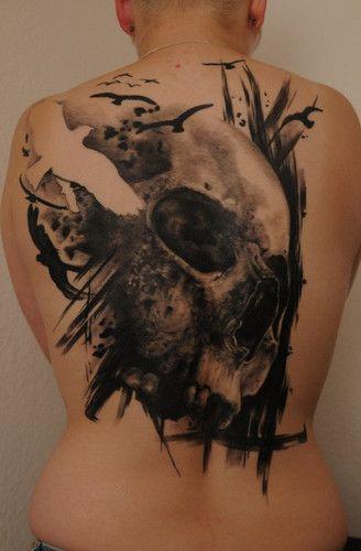 skull dark tattoo: Birds Tattoo, Skull Inspiration, Ravens And Skull Tattoo, Dark Tattoo, Florian Sparse, Body Art, Back Tattoo, Beautiful Tattoo, B Tattoo