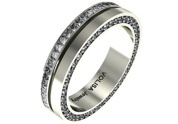 14k White Gold Beautiful Classic Men Wedding Band with by VOLISA, $2550.00