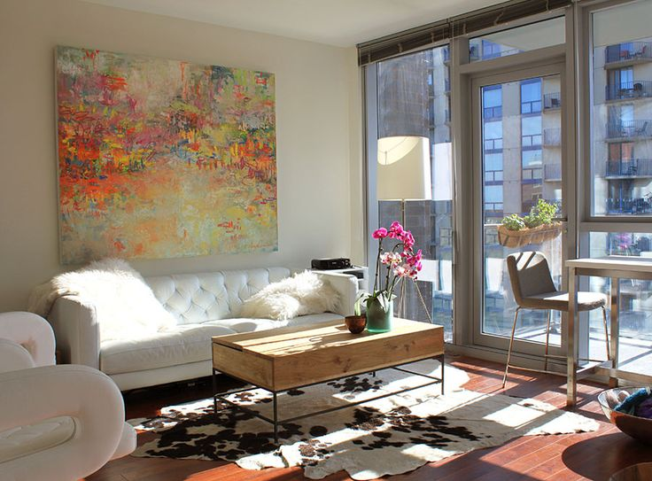 Original abstract oil painting by Amy Donaldson featured in her Chicago apartment.