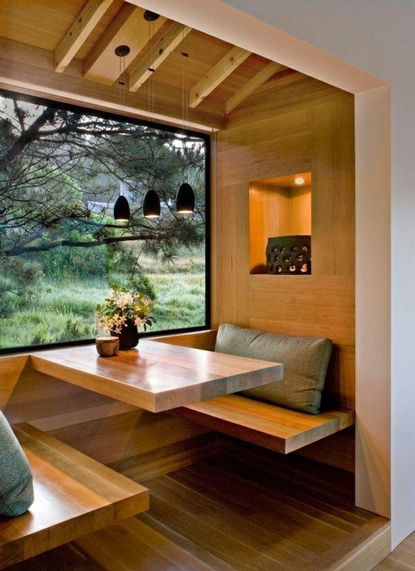 salle à manger moderne table banc plafond en bois Modern home