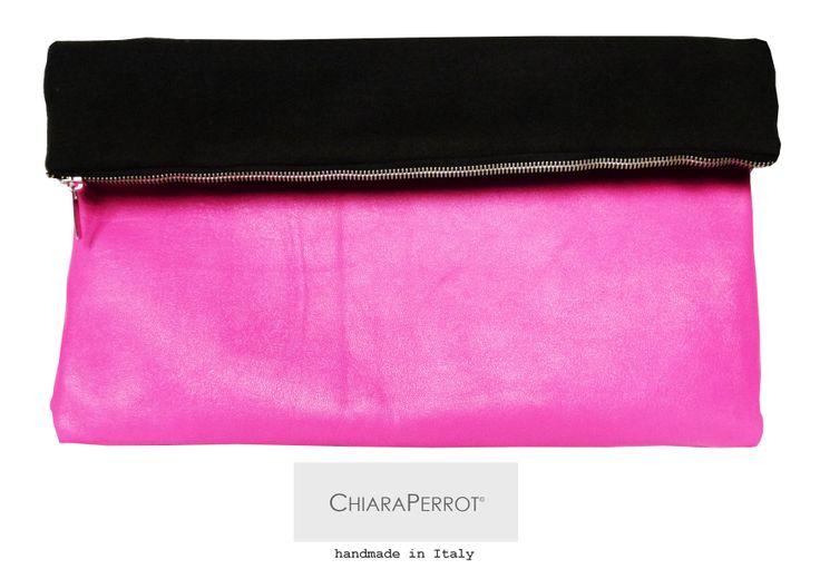 Handmade clutch fabrics: leather and wool rag  Clutch fatta a mano  tessuti: vera pelle e panno  Made in Italy  dimensioni  50x25cm  http://chiaraperrot.tictail.com/product/clutch-900915
