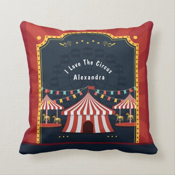 Vintage Love Circus Carnival Red White Blue Throw Pillow Zazzle Com Blue Throw Pillows Happy Birthday Kids Throw Pillows