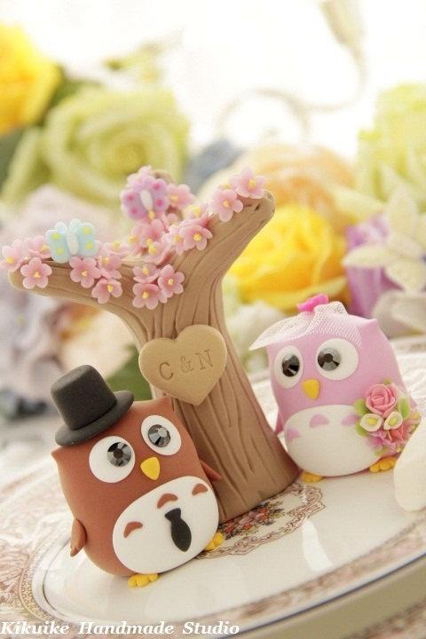 Cake Topper-love owls