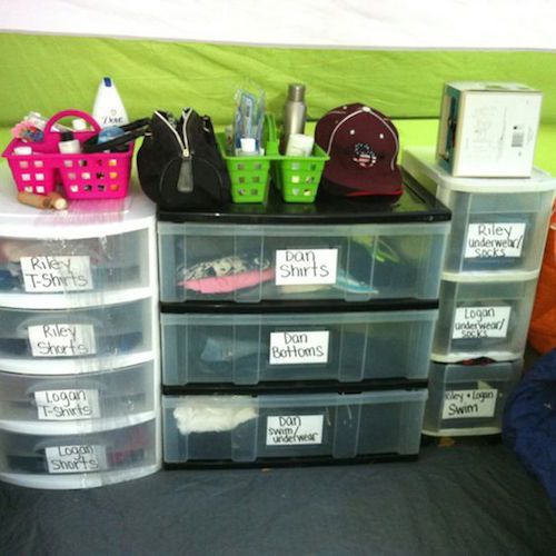 "Organized Camping! Use labeled plastic dressers instead of the usual duffle bags. Fits nicely in the tent and you can use the tops as shelves or ""counter space"". Keeps you organized during your trip."