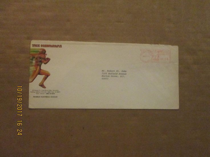 WFL The Hawaiians Rare Defunct Dated 1974 Team Logo Business Envelope