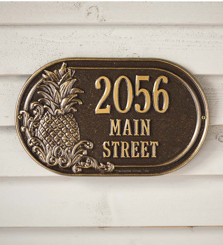 Personalized Pineapple Address Plaque | Address Signs | Personalized Pineapple Address Plaque welcomes guests to your home with the traditional symbol of hospitality. It makes a thoughtful, personalized wedding, housewarming or anniversary gift.