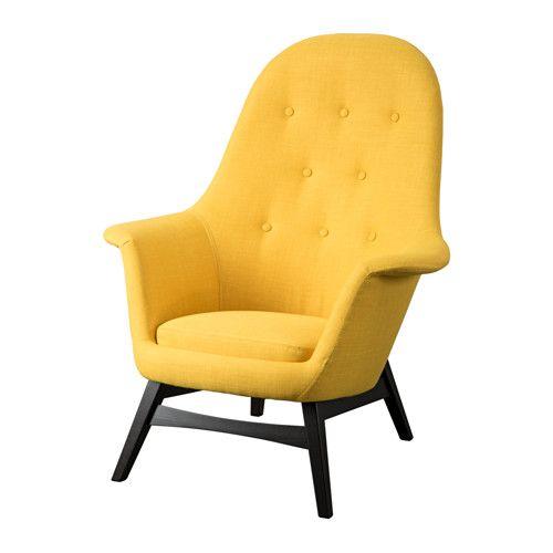IKEA - BENARP, Lenestol, Skiftebo gul, , Den høye ryggen gir god støtte til nakken og hodet.