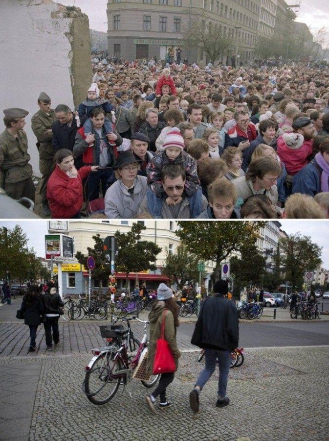 Берлинская стена, которая на протяжении 28 лет (с 1961 по 1989) разделяла ГДР и Западный Берлин: тогда и сейчас. Поразительная разница.