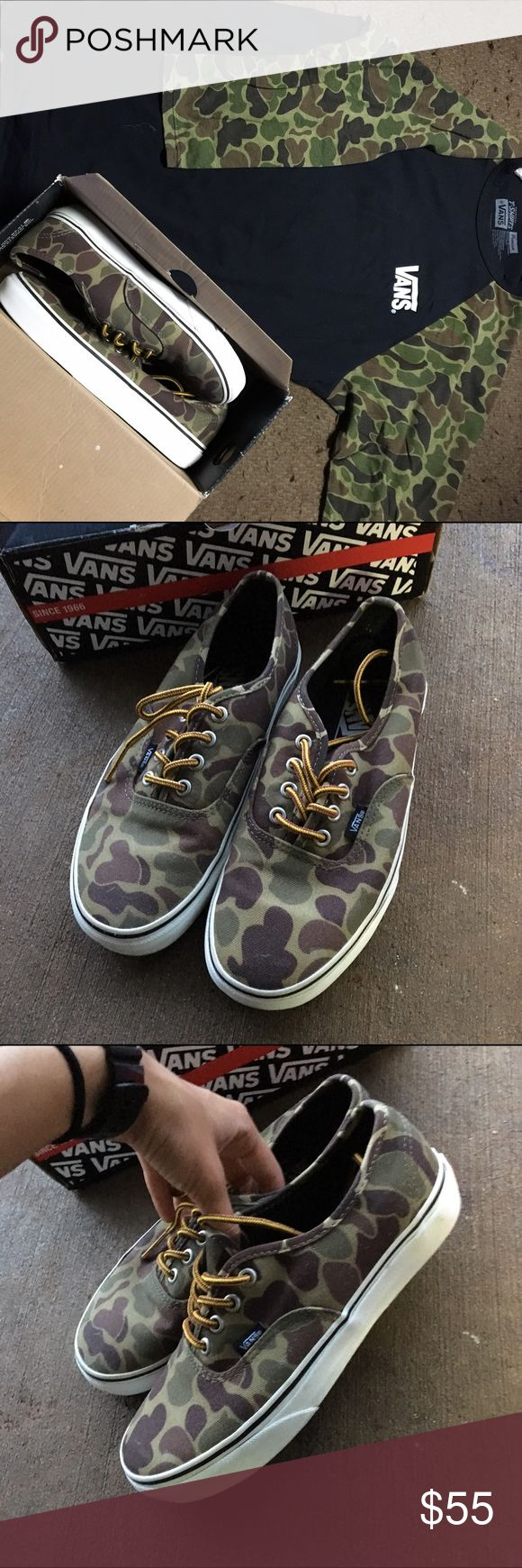 """Camo Vans & Matching Shirt """"Marshmallow Camo Vans"""" Used a couple times but still great condition. Comes with original box. Size 6.5Y / 8 Women. Also throwing in a Men's SMALL matching baseball tee. Shoes retail: $50, Shirt retail: $30-$35. (Cheaper through Mercari.. I will make an account if you are a serious buyer) OFFERS WILL BE CONSIDERED Vans Shoes Sneakers"""