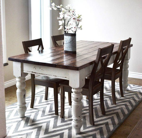 DARK STAIN FOR DINING TABLE? Ana White Used Various Stain And Finish  Products Along With Milk Paint To Complete This Distressed Farmhouse Table  Look.