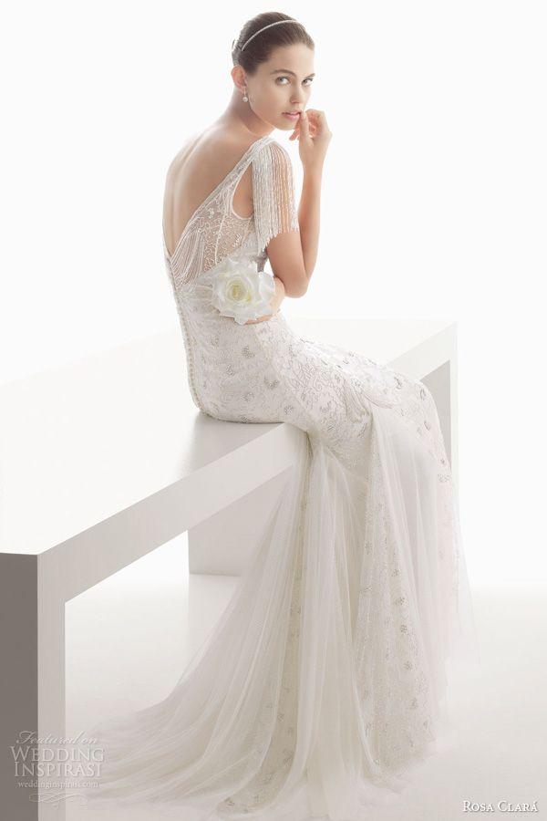 rosa clara 2014 bridal clio beaded fringe flutter sleeve wedding dress