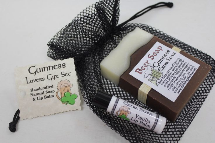 Guinness Gift Set - Beer Soap & Lip Balm - Perfect Beer Lover Gift for Parties, Birthdays and Groomsmen by AllThingsHerbal on Etsy https://www.etsy.com/listing/166648242/guinness-gift-set-beer-soap-lip-balm