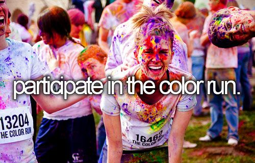 doing this in January. its a 5k run, u wear a white shirt, and at every markerof how far youve gone, a color sprays on u, at the end u look like a rainbow! cant wait :)