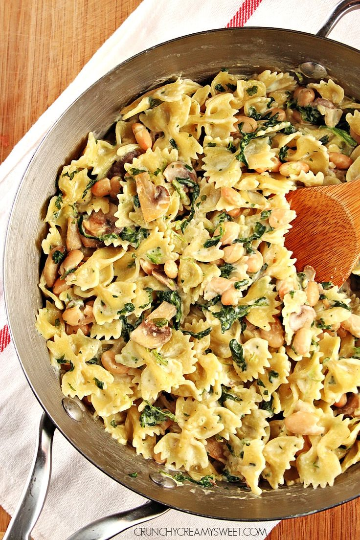 One Pot Mushroom Spinach Pasta with Beans Recipe Card