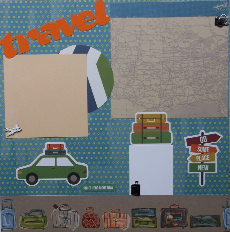 """Two travel vacation scrapbook pages are ready for your photos. No assembly needed. """"Postcard"""" journal area and luggage journal card. For use in scrapbook or frames. Acid free and ships next day in sturdy packaging. Includes luggage, car, and airplane to accent your photos."""