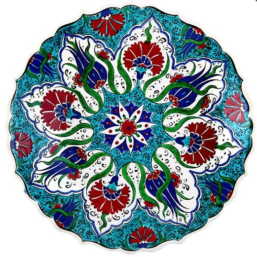 TURKISH CERAMIC PLATE, 25 CM, TULIP FIGURES
