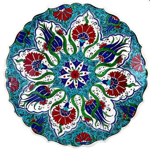 TURKISH CERAMIC PLATE, 25 CM, TULIP FIGURES