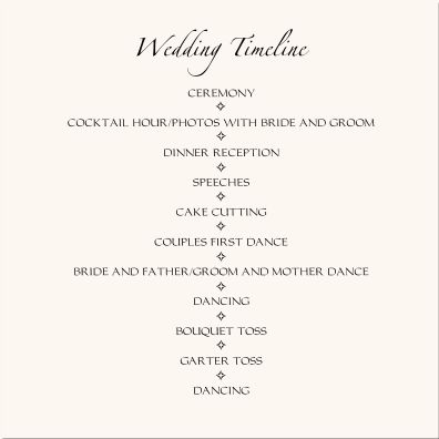 Wedding reception timeline wedding timeline pinteres for Wedding rehearsal schedule template