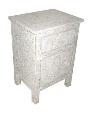 -61,800% OFF Mili Designs 1 Drawer 1 Door Geo Design Bone Inlay Bedside, White/White