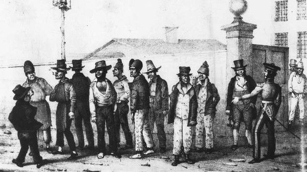 First Australian settlers - convicts sent to Australia as depicted by Augustus Earle.