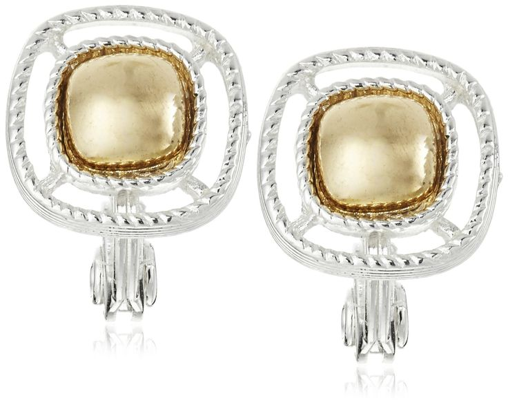 """Napier """"Ear Update"""" Two-Tone Petite Button Clip-On Earrings. Made in China."""